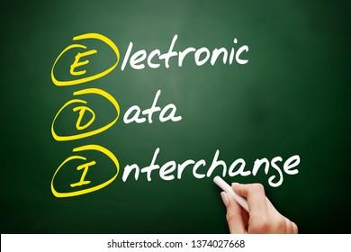 EDI - Electronic Data Interchange acronym, technology concept on blackboard