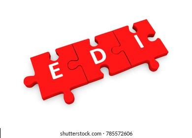 EDI puzzle conceptual white background 3d illustration