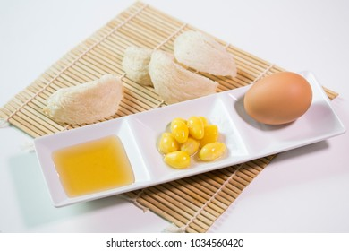 Edible birdnest with egg , honey and ginkgo nut