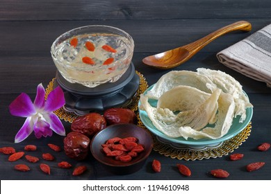 Edible bird's nest, one of most important chinese traditional  supplements for longlife and keep youth. Dried edible bird's nest and cooked in syrup with wolfberry. Copy space