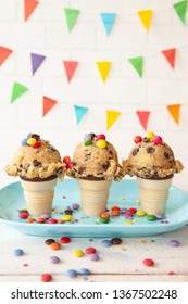 Edible cookie dough with chocolate chips and colorful sprinkles