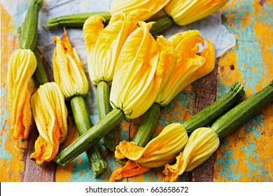 Edible courgette flowers isolated