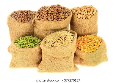 Edible (Eatable) seeds, cooking by boiling: Legumes, Pulses:  Brown Lentil, Romano Beans, Chickpeas, Peeled split green and yellow pea, Mixed Brown, Wild Rice in Burlap Bags over white background