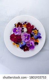 Edible flowers on a plate