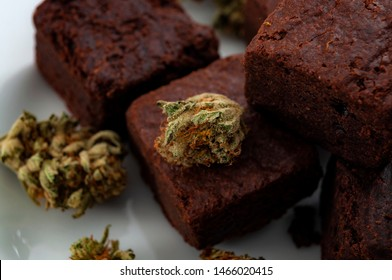 Edible marijuana for chronic pain treatment, alternative medicine diet and legal weed concept theme with close up on cannabis buds and delicious brownies