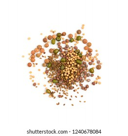 Edible seed mix with dry radish, mustard, lentils, alfalfa seeds and mung beans isolated on white background. Seed mixture for healthy nutrition