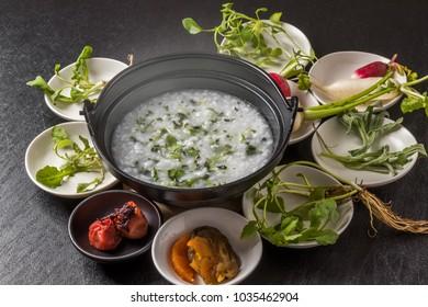 Edible wild plants porridge Japanese foods