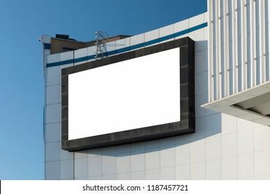 E-Digital big large empty blank screen big Billboard TV mockup template for advertisement.