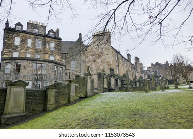 EDIMBURGH SCOTHLAND UK -JANUARY 20, 2018: Greyfriars cemetery in Edimburgh old town .