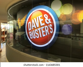 Edina, MN/USA- August 22, 2018. Interior of the Southdale Mall in Edina featuring Dave & Buster's restaurant, bar and entertainment center, which has full arcade with all types of video games in it.
