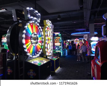 Edina, MN/USA- August 22, 2018. The interior gaming section of a Dave and Buster's, an American restaurant, bar and entertainment center that has an arcade with all types of video games in it.