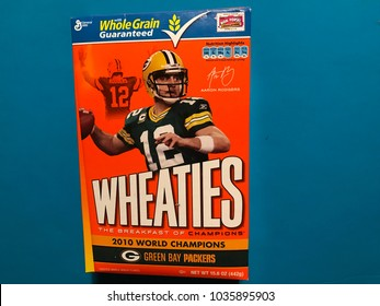 Edina, MN/USA-February 27, 2018: Wheaties cereal box featuring Green Bay Packers quarterback Aaron Rodgers commemorating the 2010 World Champion Packers team.