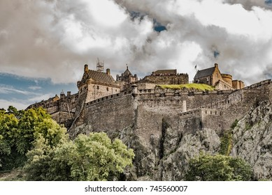 EDINBURG, ENGLAND - AUGUST 15, 2017 -   Edinburgh castle wide panoramic shot, Scotland, UK