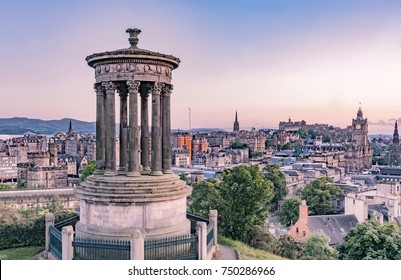 EDINBURG, ENGLAND - AUGUST 15, 2017 - sunset over Scotland city, from Calton Hill, during summer during the most famous capital festival