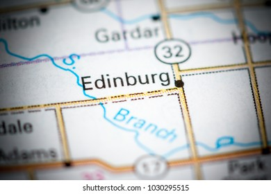 Edinburg. North Dakota. USA on a map.