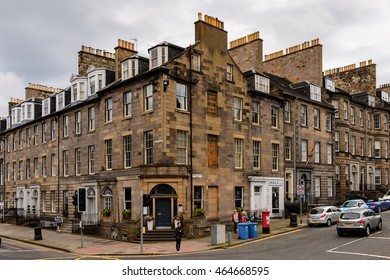 EDINBURG, SCOTLAND - JULY 17, 2016: Achitecture and traffic of Edinburgh, Scotland. Old Town and New Town are a UNESCO World Heritage Site