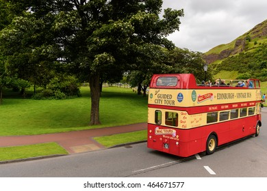 EDINBURG, SCOTLAND - JULY 17, 2016: Vintage City Tour Bus in Edinburgh, Scotland. Old Town and New Town are a UNESCO World Heritage Site