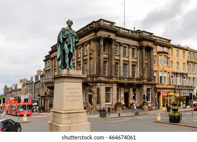 EDINBURG, SCOTLAND - JULY 17, 2016: George IV monument of Edinburgh, Scotland. Old Town and New Town are a UNESCO World Heritage Site