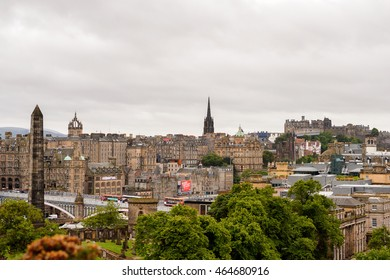 EDINBURG, SCOTLAND - JULY 17, 2016: Panoramic view of the Edinburgh, Scotland. Old Town and New Town are a UNESCO World Heritage Site