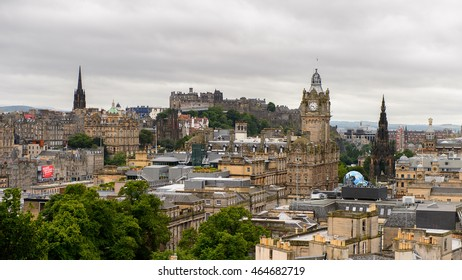 EDINBURG, SCOTLAND - JULY 17, 2016: Panorama of Edinburgh, Scotland. Old Town and New Town are a UNESCO World Heritage Site