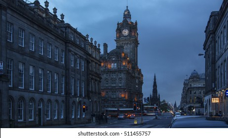 EDINBURG, SCOTLAND - JULY 17, 2016: Balmoral hotel of Edinburgh, Scotland. Old Town and New Town are a UNESCO World Heritage Site