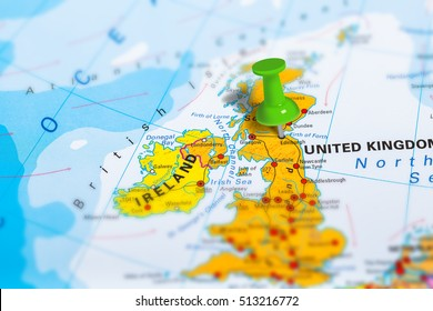 Edinburg in Scotland pinned on colorful political map of Europe. Geopolitical school atlas. Tilt shift effect.