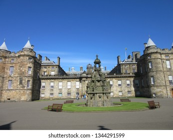 Edinburg, Scotland / UK - June 15, 2016:  The front of Hollyrood Palace in Edinburg, Scotland.