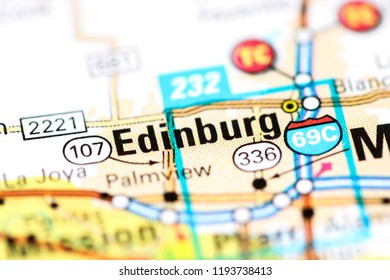Edinburg. Texas. USA on a map