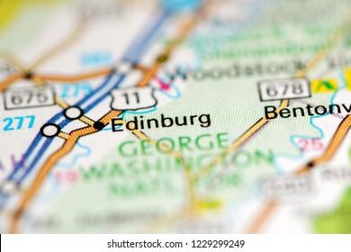 Edinburg. Virginia. USA on a geography map