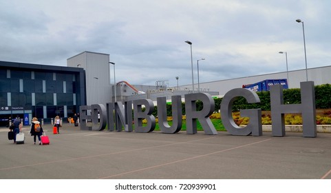 Edinburgh airport arrivals sign. Edinburgh airport, Ingliston,Scotland UK September  2017