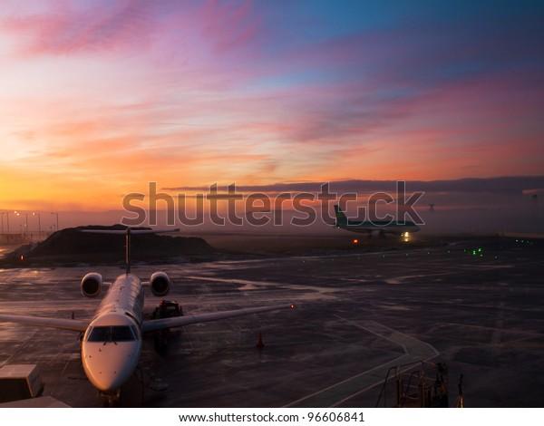 Edinburgh airport sunset