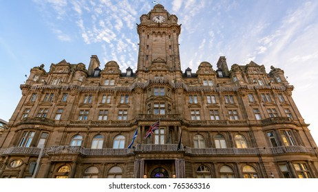 Edinburgh Balmoral Hotel Facade, View from Princes Street, Middle Angle, Architect William Hamilton Beattie (1842-1898), Victorian Architecture with traditional Scottish baronial style