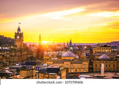 Edinburgh Buildings from aerial view Edinburgh Skyline and dawn