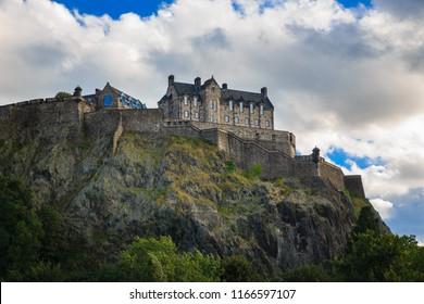 Edinburgh Castle in blue sky and clouds