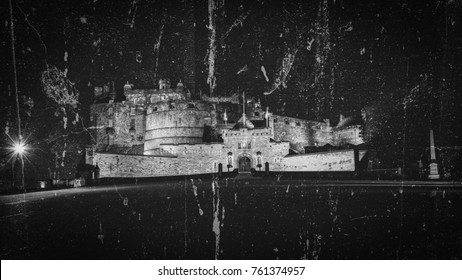 Edinburgh Castle by Night Fine Art A, Long Exposure Double Exposure Vintage Style Scotland Autumn 2017 Horizontal Photography Black and White Tone