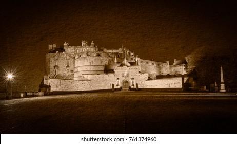 Edinburgh Castle by Night Fine Art C, Long Exposure Double Exposure Scotland Autumn 2017 Horizontal Photography Sepia Tone