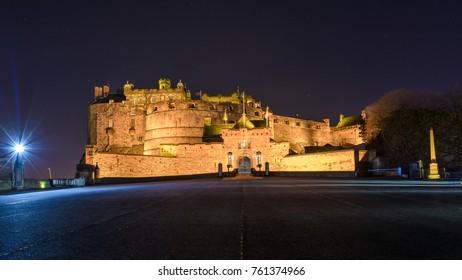 Edinburgh Castle by Night, Long Exposure Scotland Autumn 2017 Horizontal Photography
