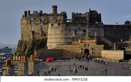 Edinburgh Castle and the court yard in the foreground.