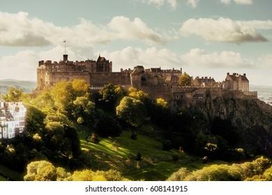 Edinburgh castle as the famous city landmark. United Kingdom.