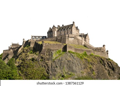 Edinburgh Castle is a historic fortress in Edinburgh, Scotland. Isolated on white background
