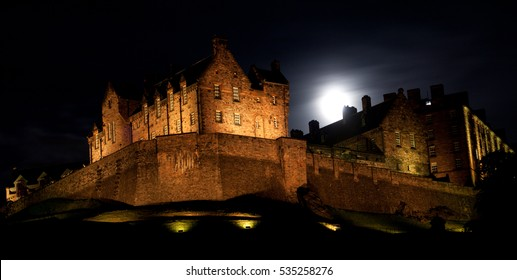 Edinburgh Castle at night.