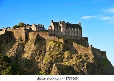 Edinburgh castle on a clear autumn day