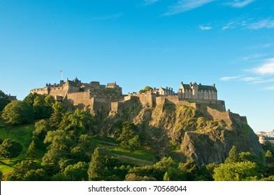 Edinburgh castle on a clear sunny day, Scotland, UK