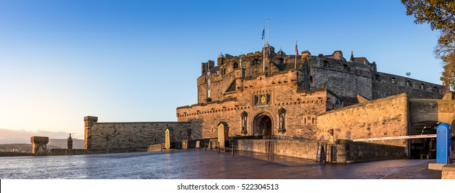 The Edinburgh Castle on a cold autumn morning at sunrise