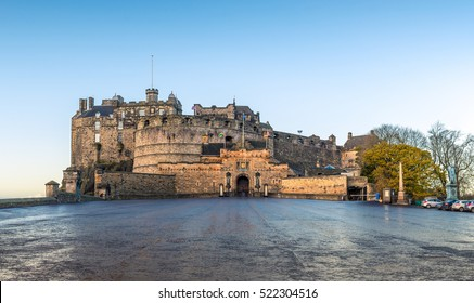 The Edinburgh Castle on a cold autumn morning