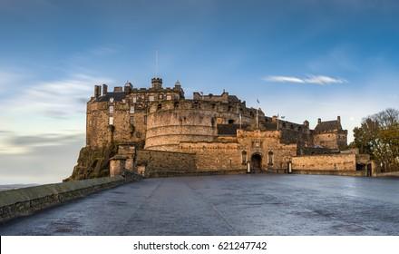 The Edinburgh Castle on a cold autumn morning
