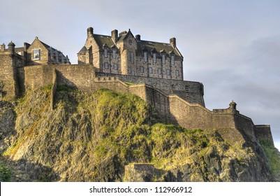 Edinburgh Castle on Castle Rock in Edinburgh, Scotland, UK