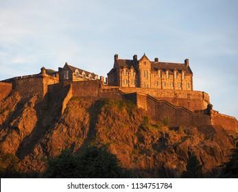 Edinburgh castle on the Castle Rock at sunset
