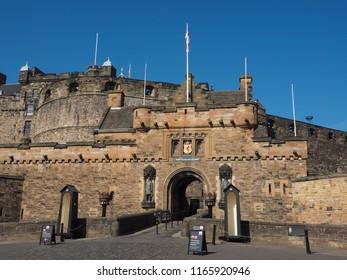 Edinburgh castle on the Castle Rock in Edinburgh, UK