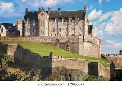 Edinburgh castle on a sunny day with a nice cloudscape